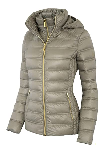 58f3ed051ea9 Michael Michael Kors Women s Down Short Packable Puffer Jacket Fall 2017  Taupe ...