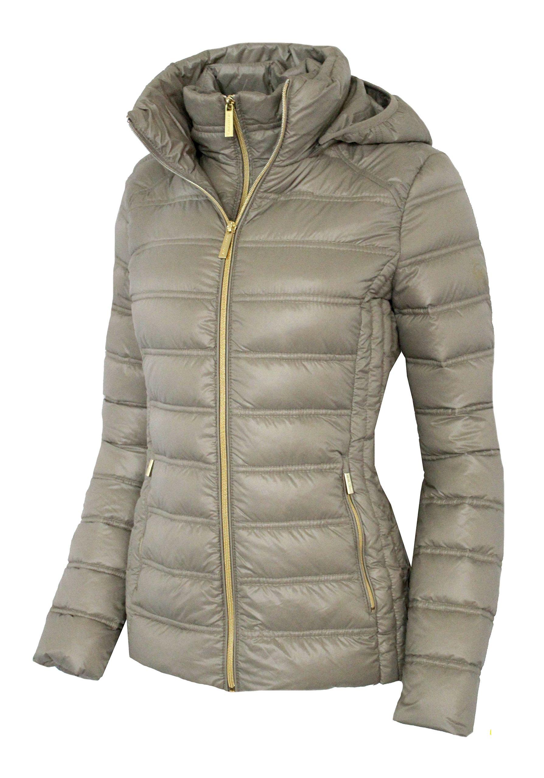 Michael Michael Kors Women's Down Short Packable Puffer Jacket Fall 2017 Taupe (M) by Michael Kors