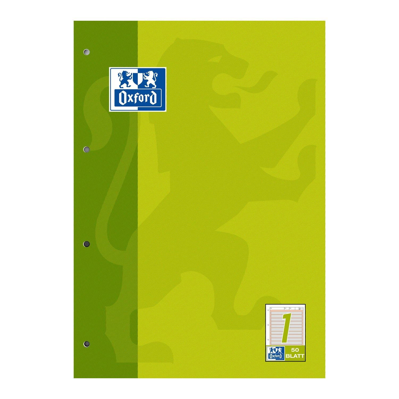 Oxford 100050340 - Quaderno per la scuola, formato A4, rigatura 1 (1° elementare), 50 fogli, 90 g/m², carta ottica, confezione da 5 pezzi, colore: Verde chiaro Hamelin GmbH