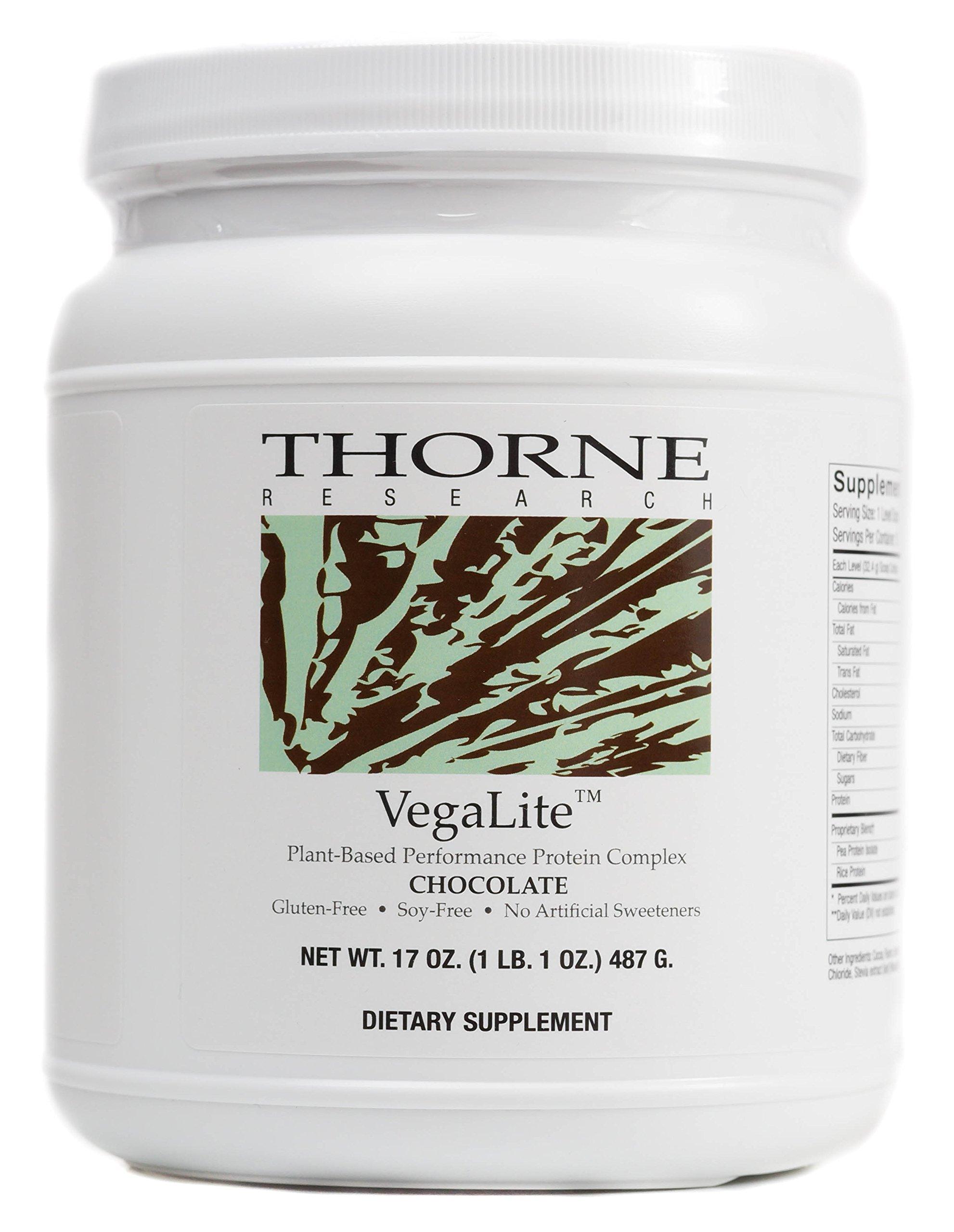 Thorne Research - VegaLite - Vegan-Friendly Performance Protein Powder - Chocolate Flavor - 17 oz