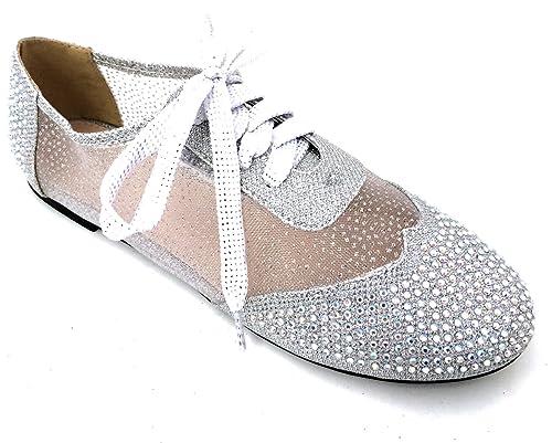 7de109421b93b3 Wen-01 Women s Oxfords Shoes Rhinestones Lace Up Mesh Detail Lace Flats  Casual Bootie
