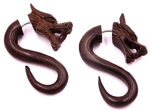Falso Dilatador Pendientes Dragon Piercing madera par marrón ...