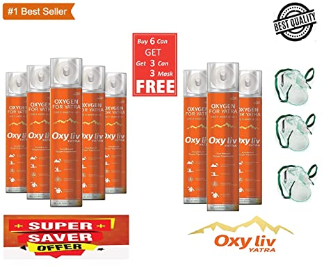 OXY LIV YATRA ULTRA PORTABLE PURE OXYGEN GAS CAN/CYLINDER BUY 6 CAN (36  Litre) GET 3 CAN (18 Litre) AND 3 MASK FREE
