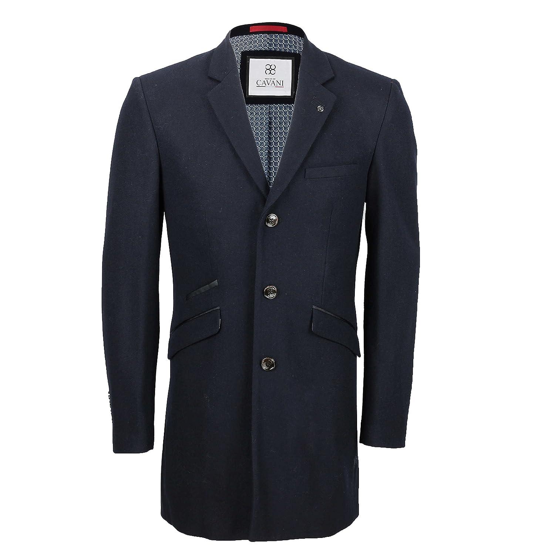 Cavani Mens Vintage Wool 3/4 Long Overcoat Tweed Crombie Smart Formal Winter Jacket in Black Navy Grey Camel