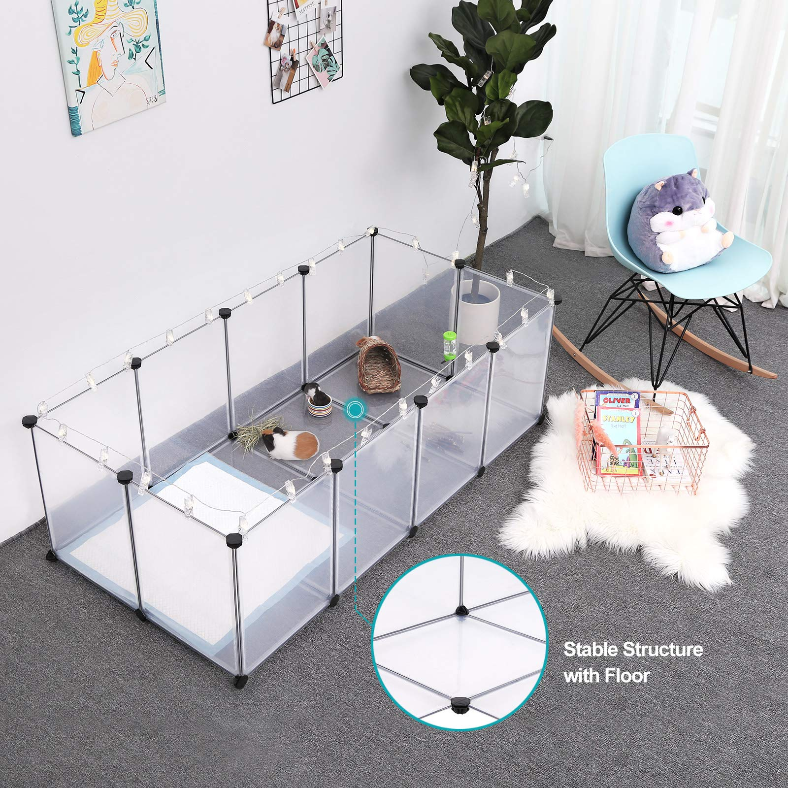 SONGMICS Pet Playpen,Fence Cage with Bottom for Small Animals Guinea Pigs, Hamsters, Bunnies,Rabbits, Pet Exercise Run and Crate, Transparent Plastic Panels, ULPC02W by SONGMICS (Image #3)