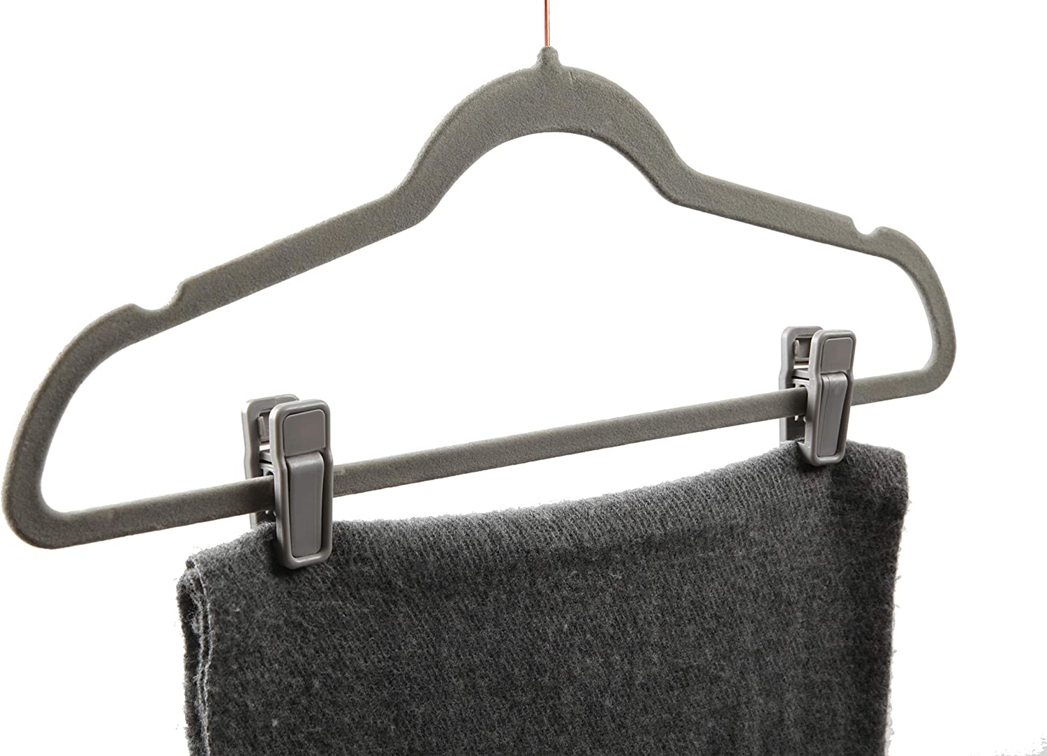Non-Slip Sturdy Velvet Hangers Finnhomy Heavy Duty 50 Pack Clothes Hangers with 10 Multiple Use Finger Clips Gray Durable Slim-Line Clothing Hangers with Copper//Rose Gold Hook