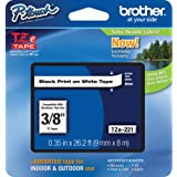 """Brother Genuine P-touch TZE-221 Tape, 3/8"""" (0.35"""") Standard Laminated P-touch Tape, Black on White, Laminated for Indoor or O"""