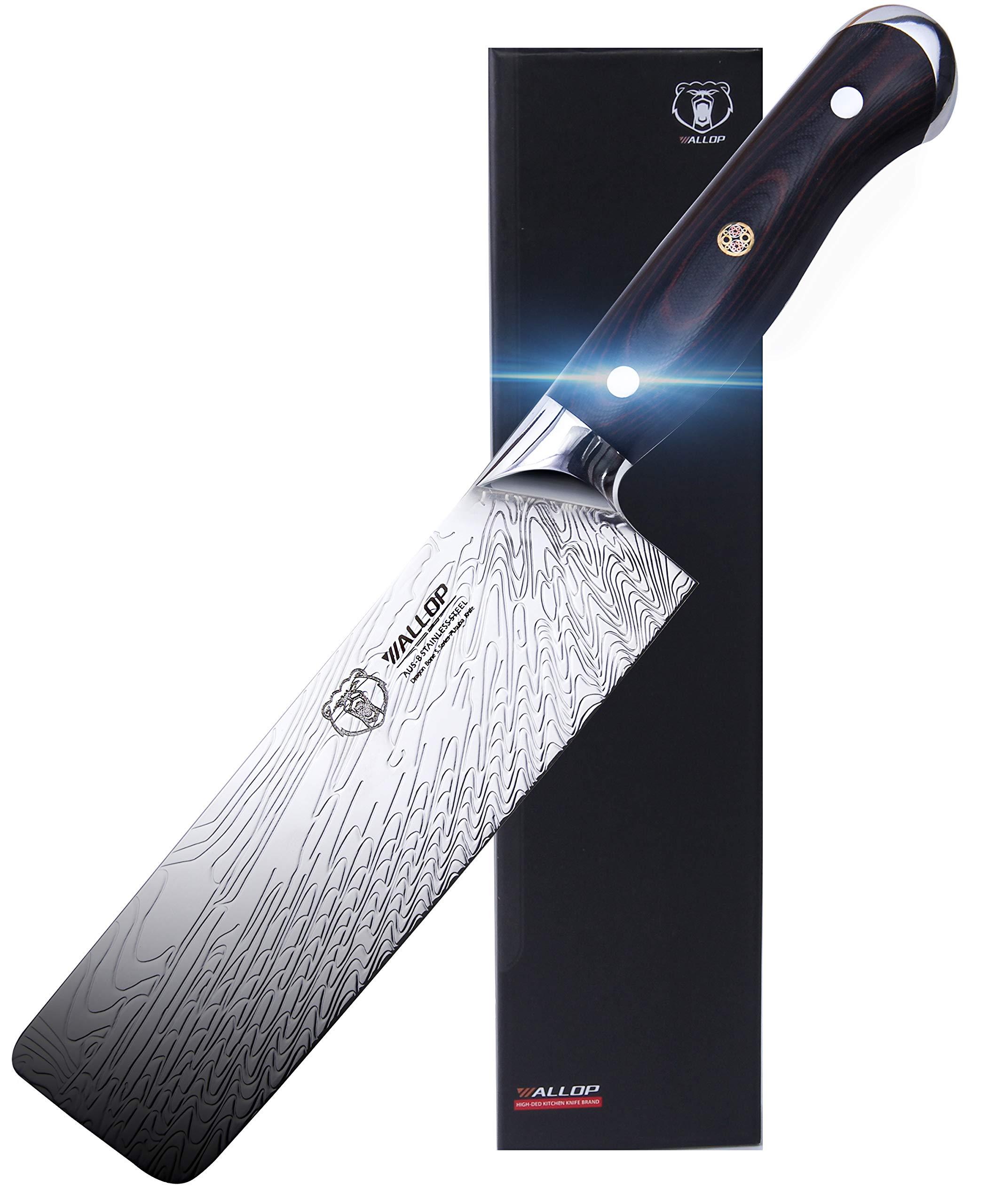 WALLOP Nakiri Knife - Japanese AUS-8 Stainless Steel Usuba Knife - Amazing Solar Pattern Well Balance Vegetable Salad Chopper Cutter Meat Cleaver Kitchen Knife - Ergonomic Full Tang G10 Handle - 7'' by WALLOP