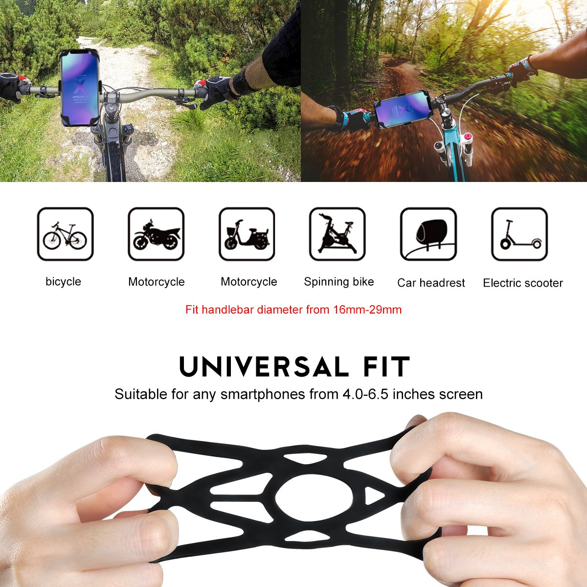 Black Bicycle Phone Holder Universal Bike Phone Mount Silicone Support Band Compatible iPhone x//8//7//6 4-6.0 inches Phones Other Devices