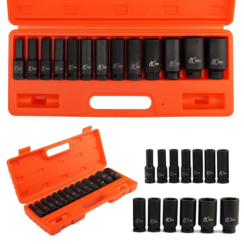 MultiWare Impact Sockets 15 Pcs 1//2 Deep Impact Socket Tool Set Metric Garage Workshop 10-32 MM