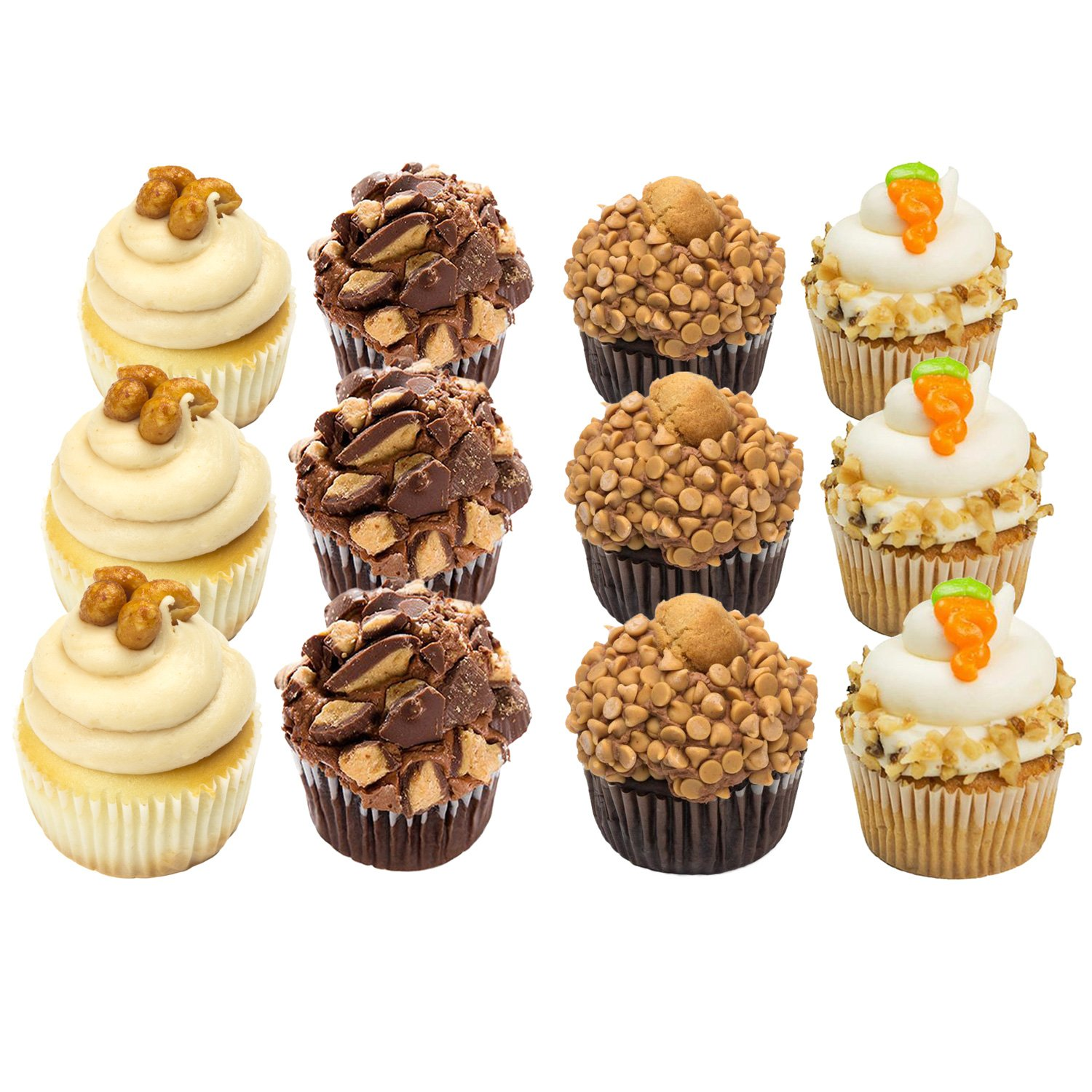 Cupcakes - Nut Lovers - Peanut Butter - Dessert - 12 Pack Assortment - Baked Fresh Day of Order