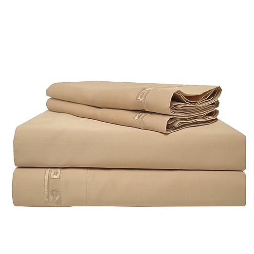 Superior - Juego de sábanas 198 x 203 cm, esquineras Profundas, 100% algodón de 600 Hilos y de un Solo Cabo, con Bordado Greco, Color Verde Salvia: ...