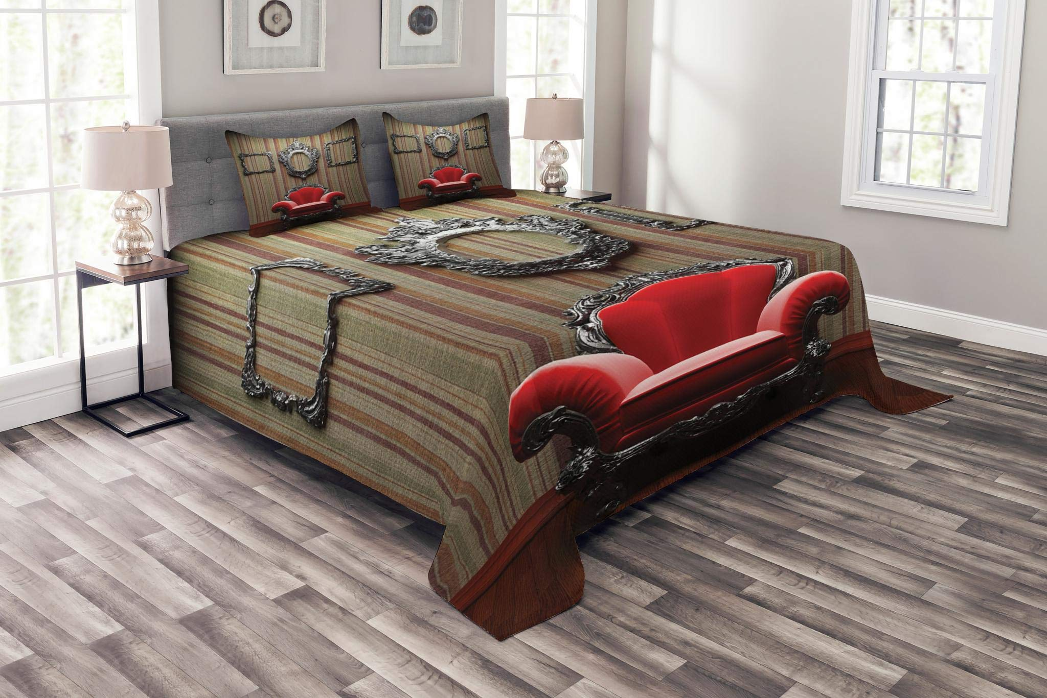 Lunarable Antique Bedspread Set Queen Size, Wall and Chair Vintage Picture Frame Vertical Striped Background Timber Floor Image, Decorative Quilted 3 Piece Coverlet Set with 2 Pillow Shams, Multicolor