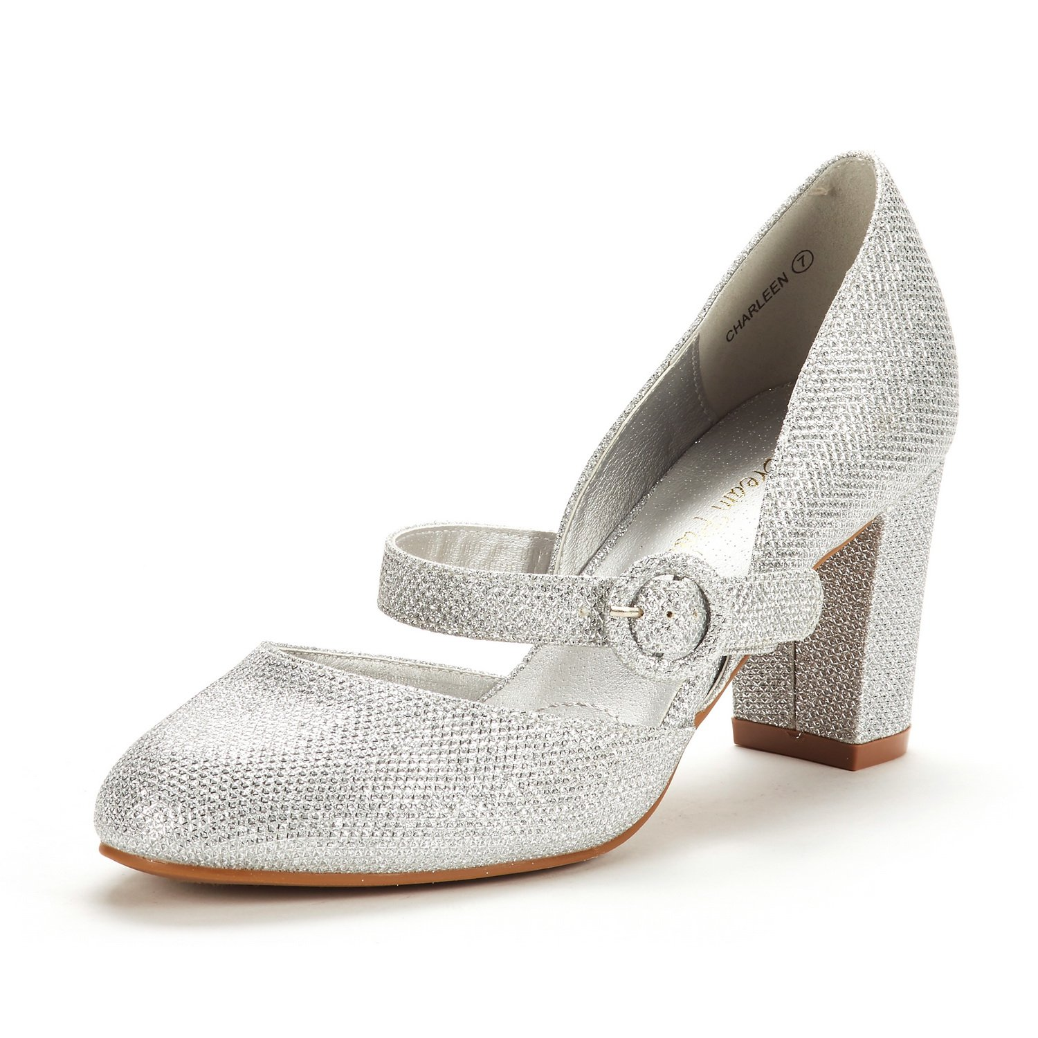 DREAM PAIRS Women's Charleen Silver Glitter Classic Fashion Closed Toe High Heel Dress Pumps Shoes Size 9 M US