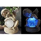 Solarleuchte Engel mit Kristallkugel Blau Solarlampe Gartenleuchte LED Lampe NEU