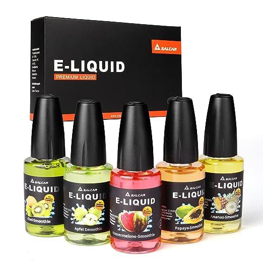 Salcar® 5x20ml Set de colores de Premium E-Líquido para cigarrillos electrónicos, e-shisha, altamente recomendable (batido de manzana, batido de sandía, ...
