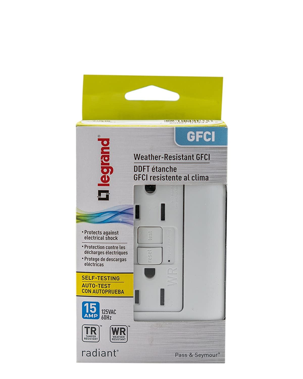 Legrand Pass Seymour 1597trwrwcc4 Self Test Gfci Receptacle Outlet 15 Or 20 Amp Tamper Weather Resistant Receptacles With Wall Plate 15amp 125v White