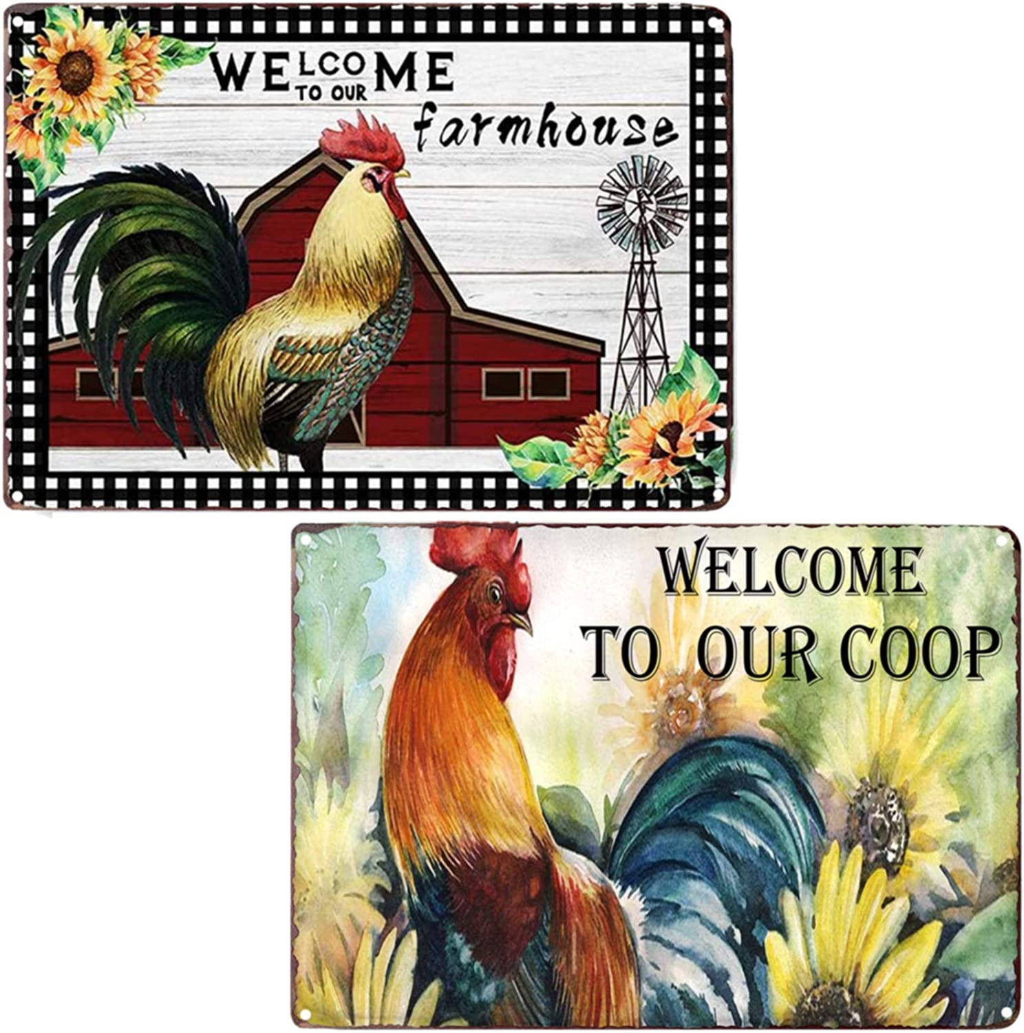 TISOSO Welcome to Our Farmhouse Coop Funny Chicken Sign Retro Vintage Metal Tin Signs Wall Plaque Farm House Country Home Decor 2Pcs-8X12Inch