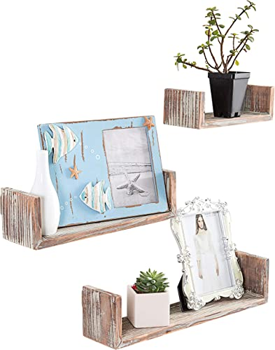 MyGift Wall Mounted Torched Wood U-Shaped Floating Shelves, Set of 3