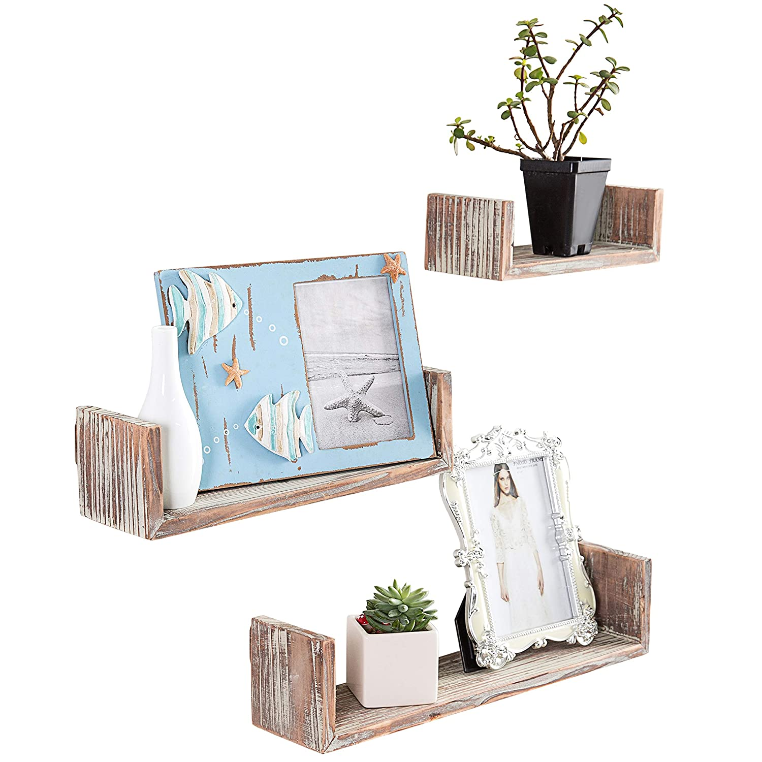 MyGift Wall Mounted Torched Wood U-Shaped Floating Shelves, Set of 3, Dark Brown