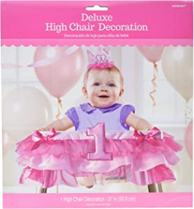 Amscan 249003 1st Birthday Deluxe High Chair Decoration - Pink, 1 piece