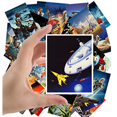 "Large Stickers (24 pcs 2.5""x3.5"") Vintage SciFi Pulp Fiction Comic Magazine Art by Alex Schomburg Ed Valigursky: Toys & Games"