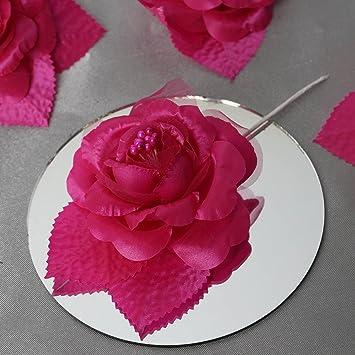 Amazon Com Balsacircle 12 Fuchsia Open Roses Craft Flowers