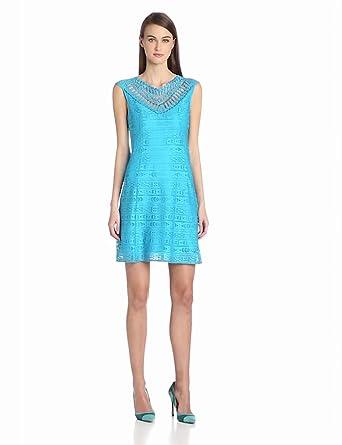Nanette Lepore Women's Sunrise Lace and Emboroidered Neck Detail Sheath Dress, Cyan, 0