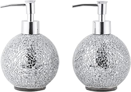 Glass Mosaic Hand Soap Dispenser Lotion Bottle With Chrome Plated Plastic Pump 14 Ounce Set Of 2 Silver Home Kitchen