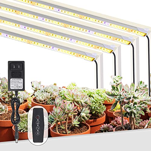 Plant Grow Light Strips with Auto On Off Timer, 48W 192 LEDs Grow Lights for Indoor Plants Succulent, 6 Dimmable Levels and 4 Switch Modes Sunlike Grow Lamp – 4Pack Full Spectrum