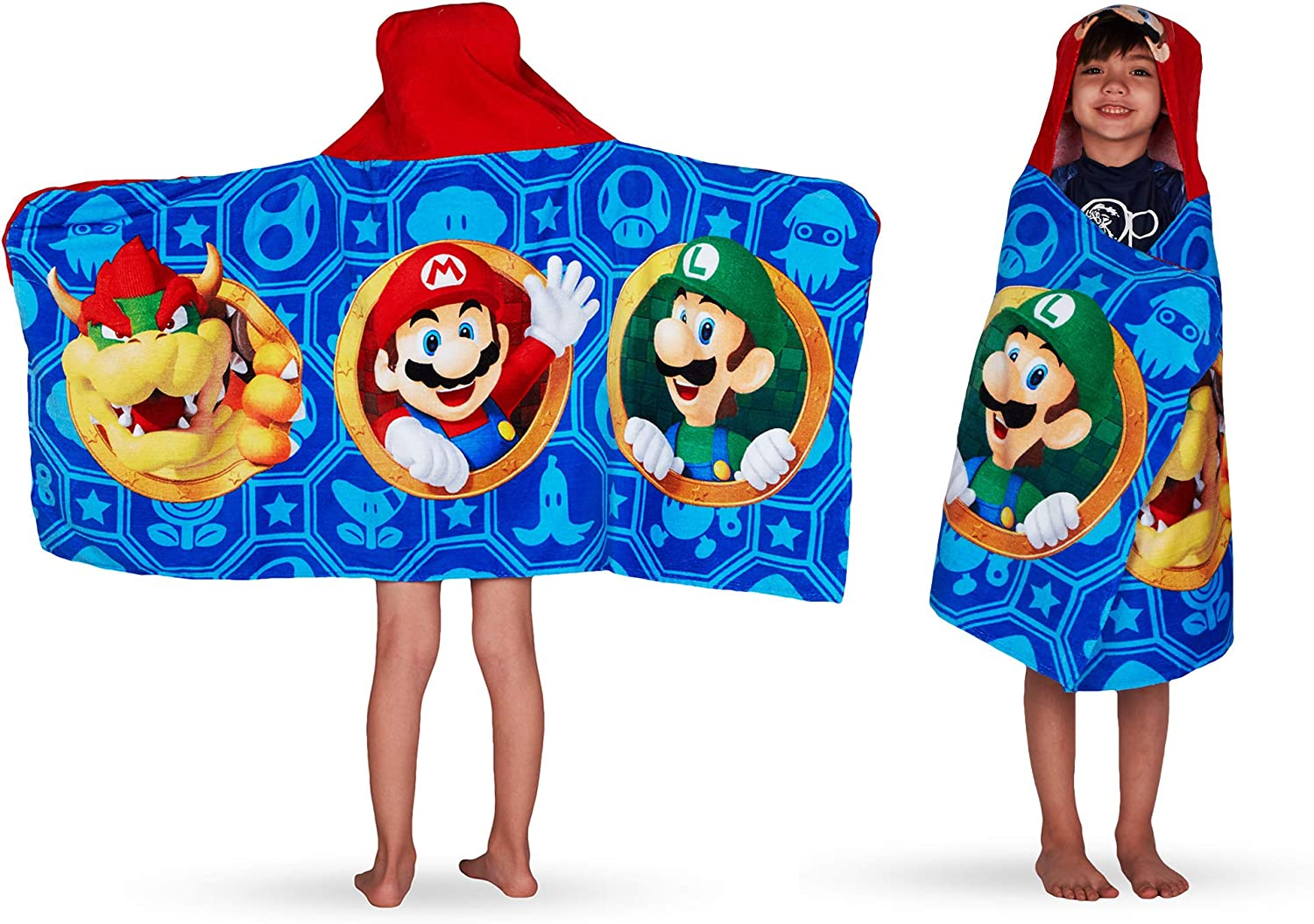 "Franco Kids Bath and Beach Soft Cotton Terry Hooded Towel Wrap, 24"" x 50"", Super Mario"