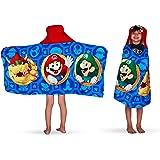 """Franco - Toalla con Capucha para baño y Playa, para niños, de algodón Suave, Super Mario, 24"""" x 50"""", 1"""