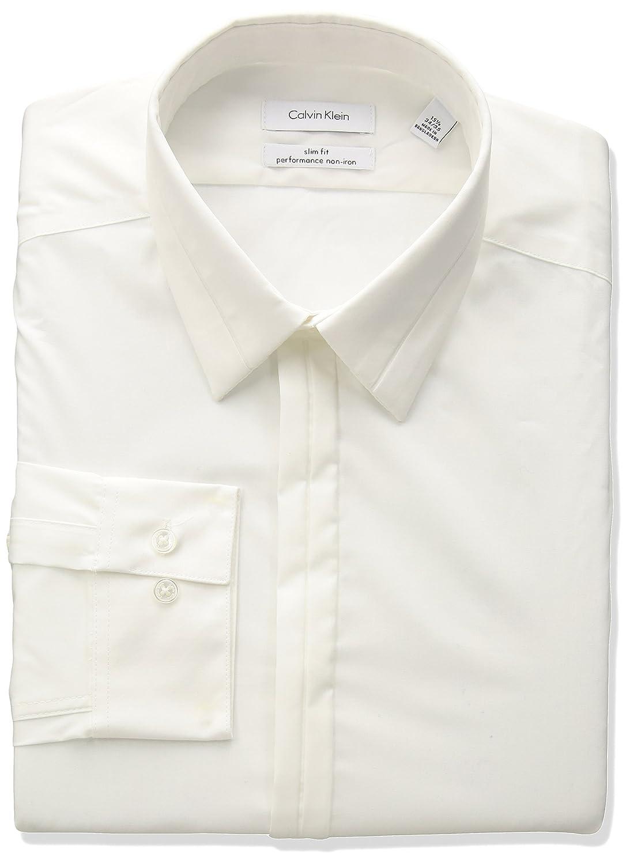 Calvin Klein Mens Non Iron Stretch Slim Fit Textured Solid Dress