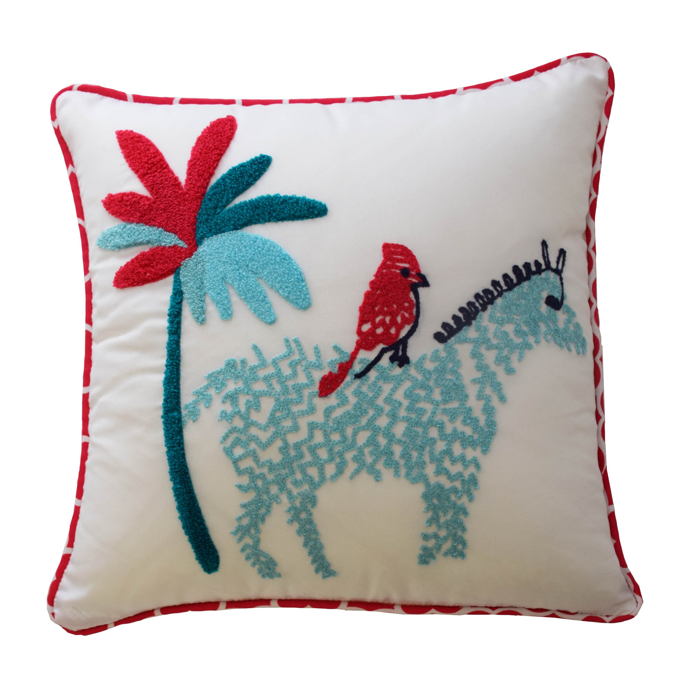 WAVERLY Kids 16441015X015PNK Reverie 15-inch by 15-inch Zebra Decorative Accessory Pillow, Pink