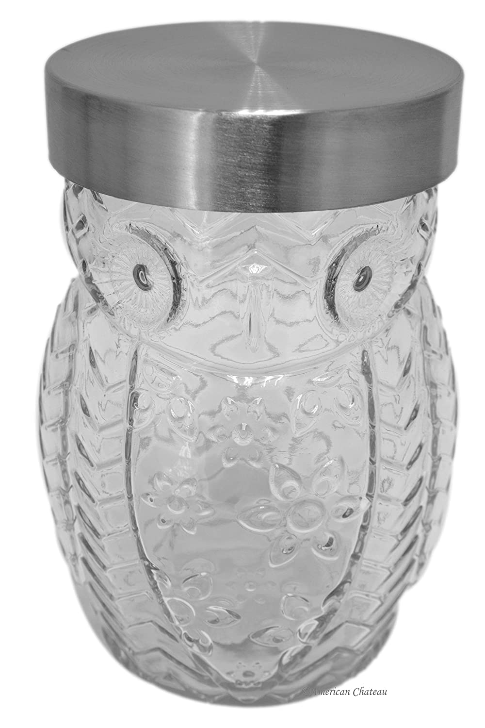 Clear Glass Owl Shaped 42oz Large Biscotti Cookie Storage Canister Display Jar American Chateau