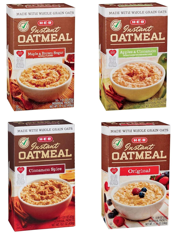 H‑E‑B Instant Oatmeal 4 Flavor Variety Pack - Maple & Brown Sugar, Apples & Cinnamon, Cinnamon & Spice, Original Flavor - 42 Packets