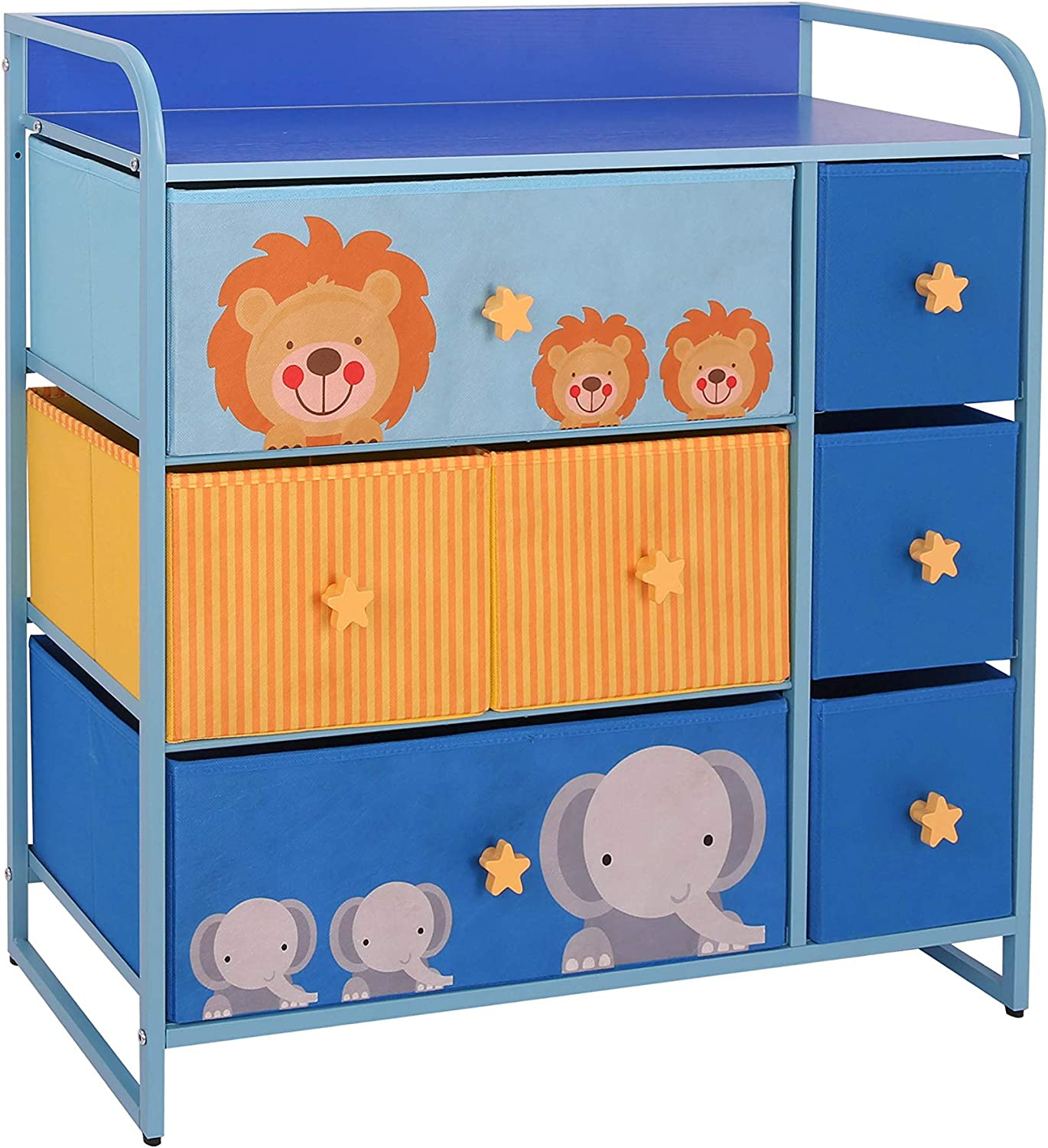 MY LUNA HOME Kids Dresser with 7 Drawers – Nursery Storage & Organizer Furniture for Children, Toddler, Baby– Heavy Duty, Soft & Easy Pull Fabric Bins for Toys, Clothes, Playroom & Bedroom - Blue