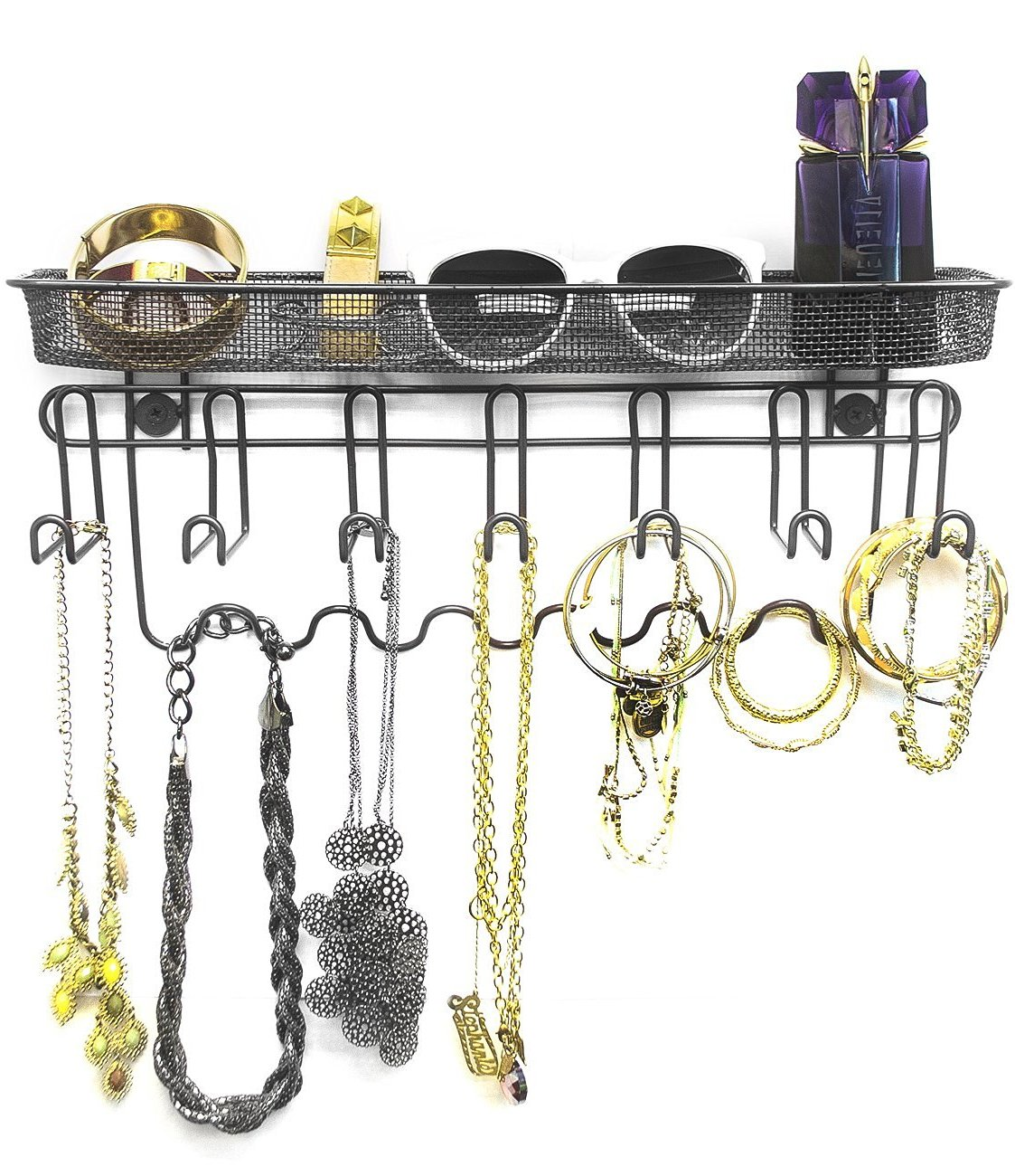 Sorbus Jewelry Organizer Holder, Mail & Key Rack, 13 Hook Wall Mounted Storage Shelf - Perfect for Jewelry, Accessories, Beauty Products, Mail, Keys, and Much More! (Black)