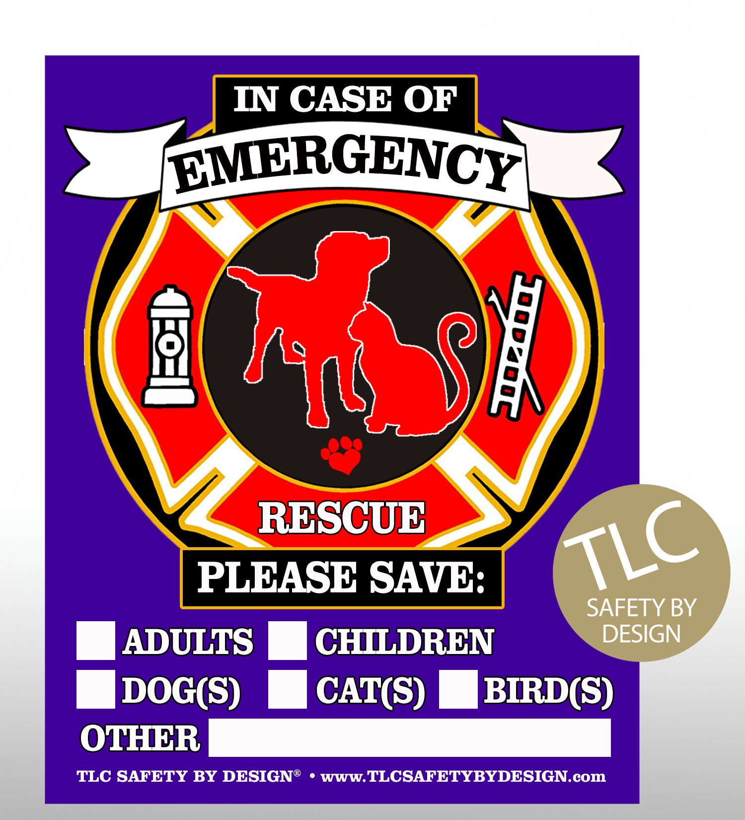 Tlc safety by design pet fire rescue top rated trademarked safety alert emergency pet dog cat