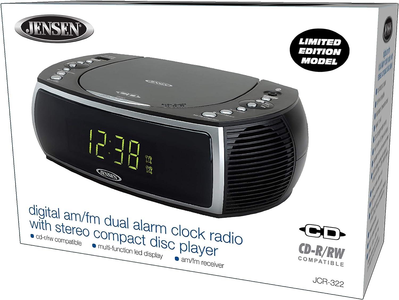 Headphone Jack USB Charging Port DV 5V 800mA Jensen Modern Home CD Tabletop Stereo Clock Digital AM//FM Radio CD Player Dual Alarm Clock Stereo CD Top-Loading Disc Player 0.9 Display Green LED |