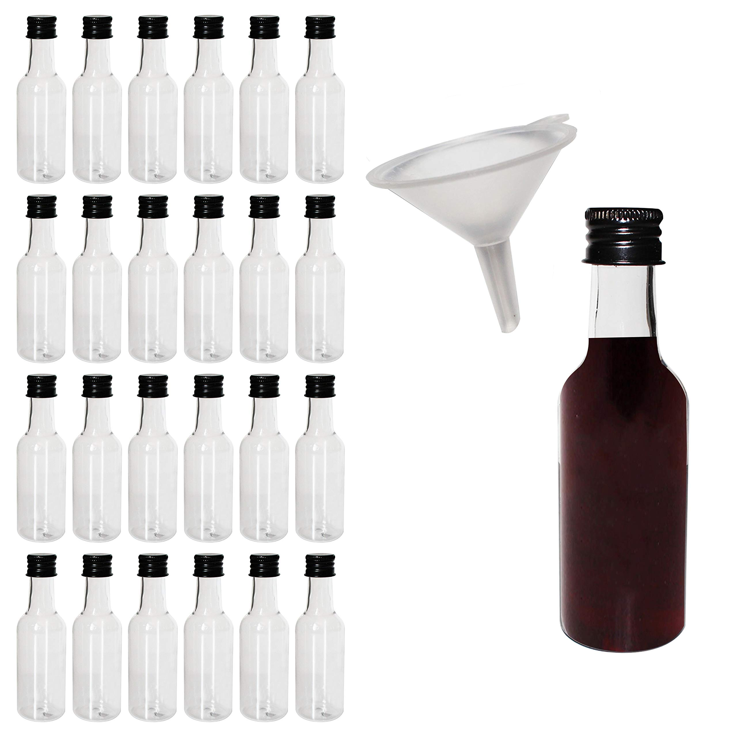 Mini Liquor Bottles (24 Pack) - 55ml Plastic Empty Liquor Bottles with Black Cap and Liquid Funnel for Pouring Liquid - Miniature Bottles for Weddings, Party Favors, Arts, Paints and Events by BELLE VOUS