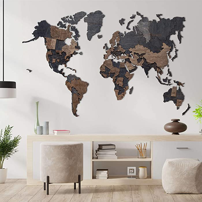 3D Wood World Map Wall Decor 3D Map of the World Wall Art Large Wall Decal Wooden Decor Anniversary Gift Rustic Wall Decor