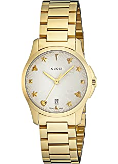a6340d436aa Gucci Womens Analogue Classic Quartz Watch with Gold Plated Strap YA126576