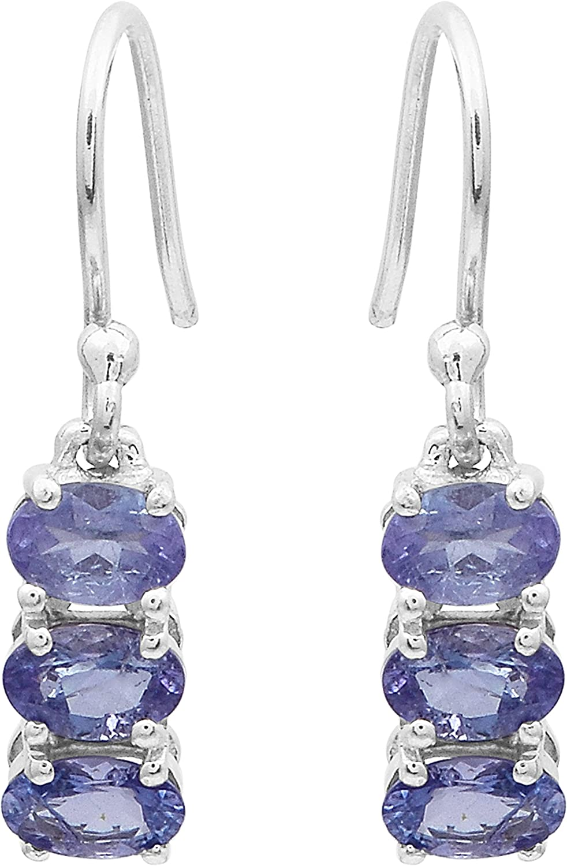 Shine Jewel Pendientes de plata de ley 925 con piedra de tanzanita de corte ovalado