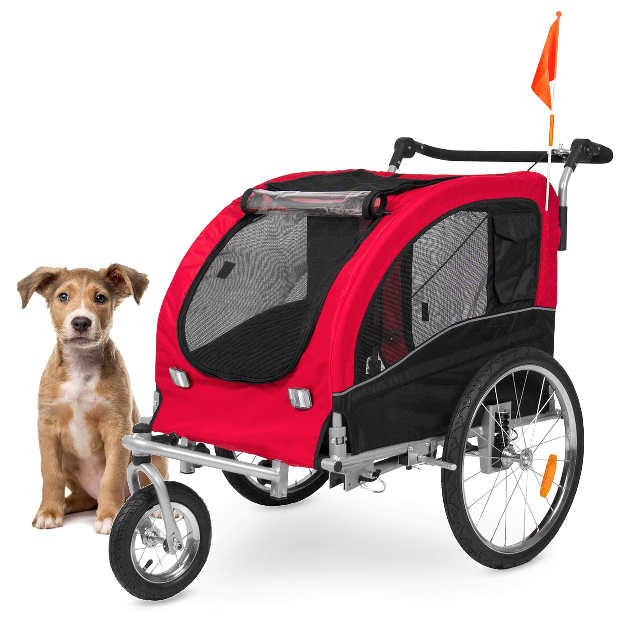 Best Choice Products 2-in-1 Pet Stroller and Trailer, Red, with Hitch, Suspension, Safety Flag, and Reflectors by Best Choice Products
