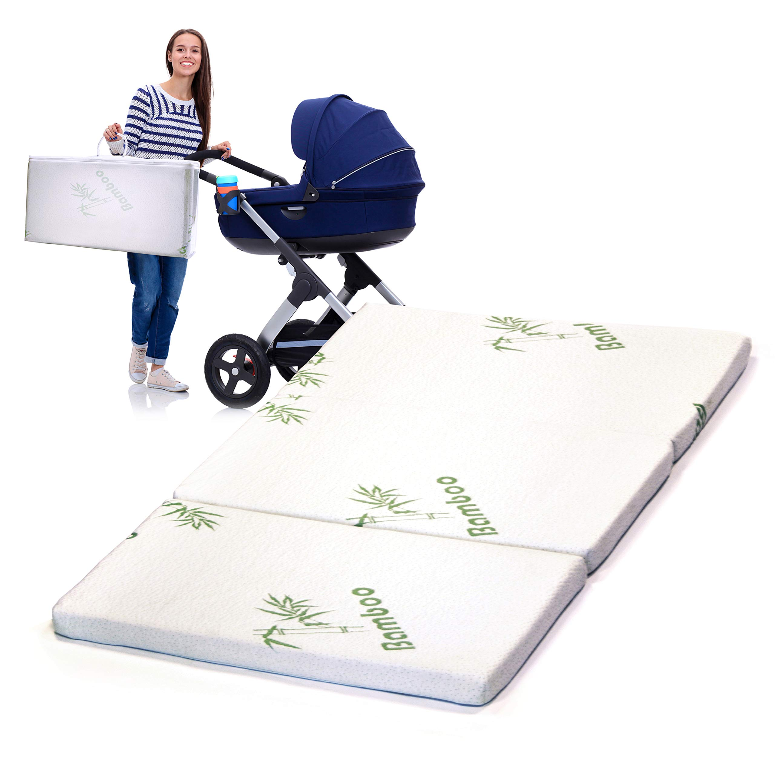 Tri-Fold Pack N' Play Bamboo Mattress - 100% Organic Waterproof Nap Pad - Collapsible Crib Cushion and Hypo-Allergenic Soft Play Mat - Machine Washable Play Pad Play Pen Mattresses, 38 x 25.5 x 1.5'' by YESINDEED