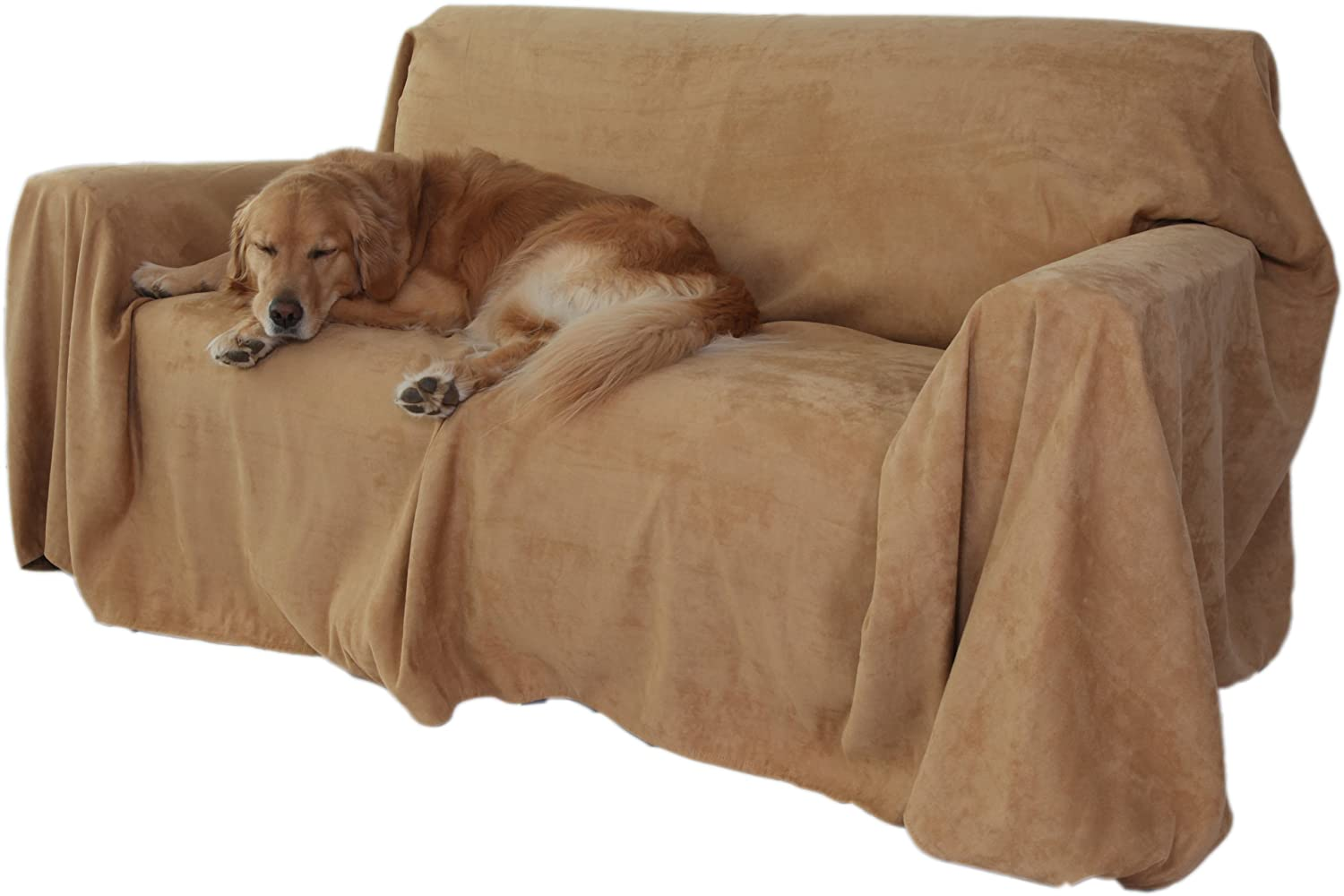 """105/"""" x 170/"""" Chocolate Floppy Ears Design Simple Faux Suede Microfiber Couch Cover Protector Extra Wide Three Cushion Couch Size"""