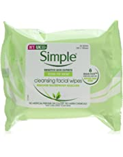 Simple Kind to Skin Cleansing Biodegradable Facial Wipes to Lift Impurities and Make-up Out, 25 Wipes, Pack of 6