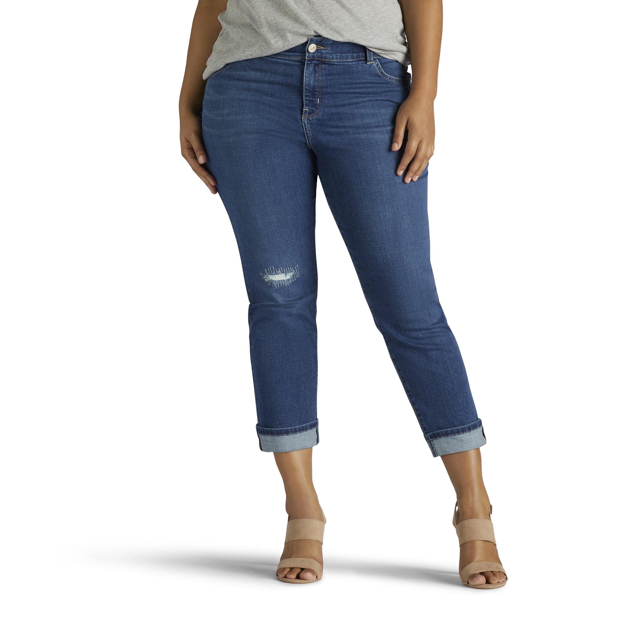 LEE Women's Plus-Size Midrise Total Freedom Kilee Capri Jean, Evolve, 18W Medium