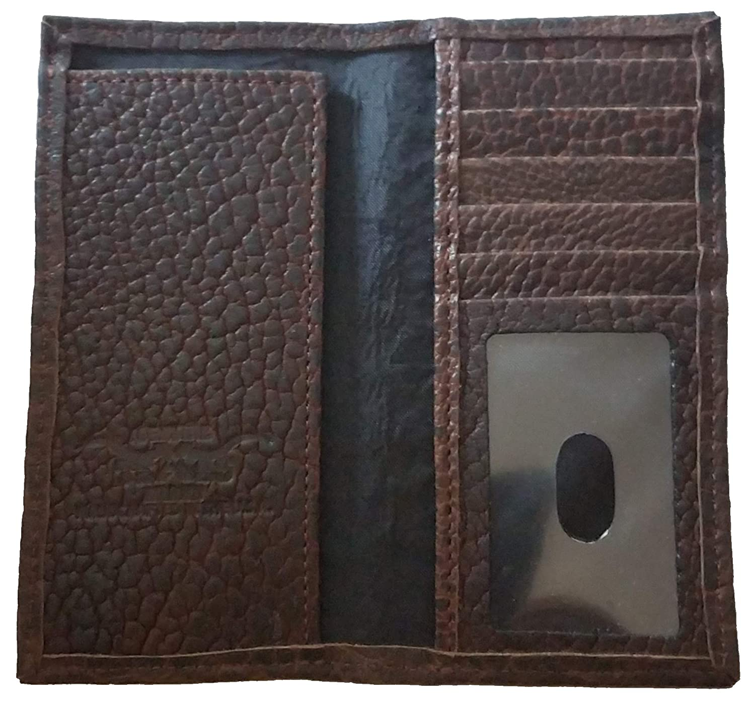 Proudly MADE IN THE USA Custom 12 Gauge Shotgun American Buffalo Hide Long Chocolate Brown Checkbook Wallet